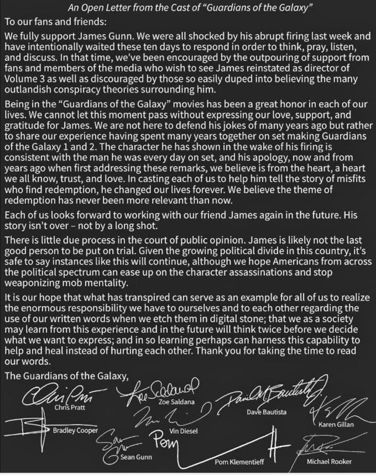 """An Open Letter from the Cast of """"Guardians of the Galaxy"""""""