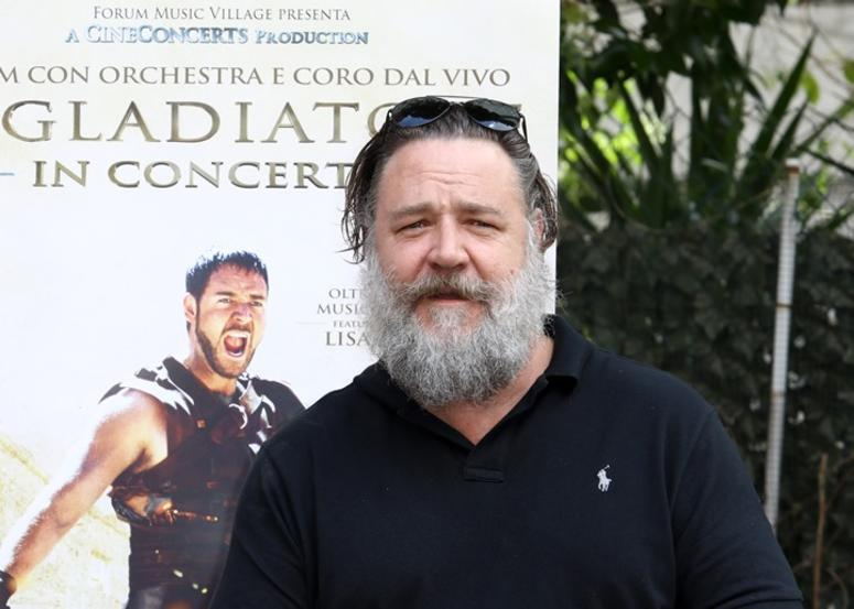 6/5/2018 - Russell Crowe attends a photocall for Gladiator Live in Concert in Rome