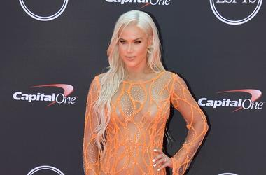 """Jul 18, 2018; Los Angeles, CA, USA; WWE personality CJ \""""Lana\"""" Perry arrives for the 2018 ESPYS at Microsoft Theatre. Mandatory Credit: Kirby Lee-USA TODAY Sports"""