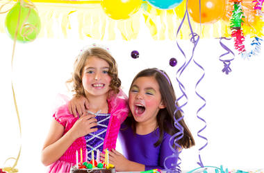 Children happy hug in birthday party laughing