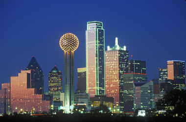 Dallas, TX skyline at night with Reunion Tower