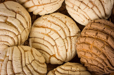 Mexican Conchas sweet bread. Dinner, food.