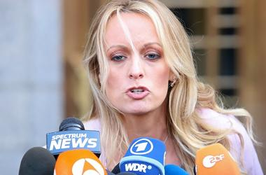 Stormy Daniels holds a press conference after leaving a federal court hearing in New York.