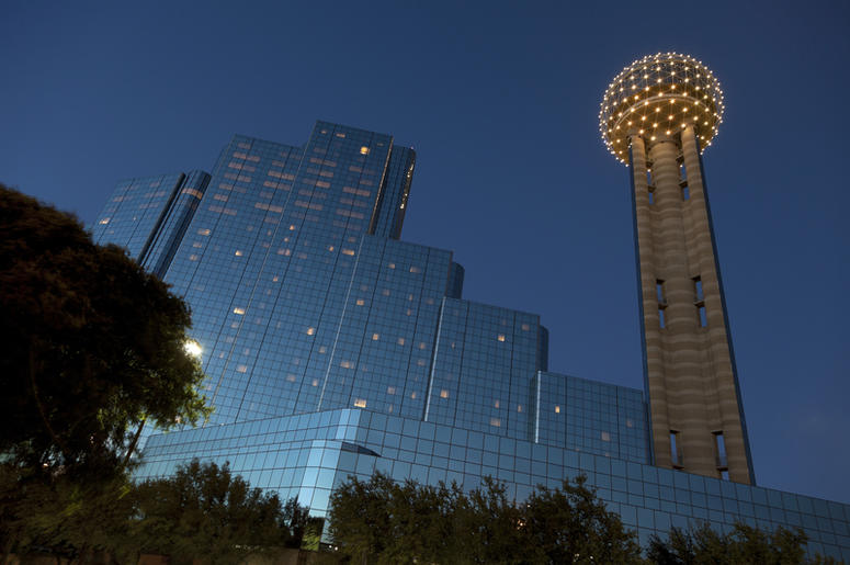 Reunion Tower and Modern Hotel in Downtown Dallas at Dusk, Texas.