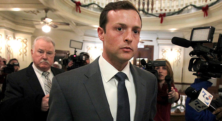 Former Baylor University fraternity president Jacob Anderson walks out of the courtroom Monday Dec. 10, 2018. Mr. Anderson, accused of rape, will serve no jail time after a Waco district judge accepted a plea bargain for deferred probation.