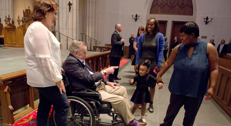 "Former President George H. W. Bush greets the mourners with his daughter Dorothy ""Doro"" Bush Koch during the visitation for former first lady Barbara Bush at St. Martin's Episcopal Church Friday, April 20, 2018, in Houston."