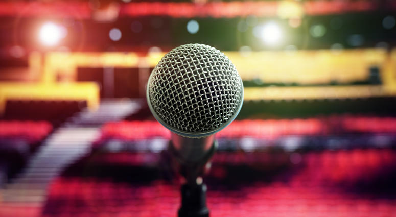 Stage, Microphone, Performance,
