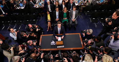 Facebook CEO Mark Zuckerberg arrives to testify before a joint hearing of the Commerce and Judiciary Committees