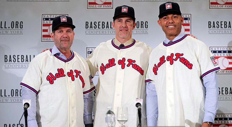 Baseball Hall of Fame inductees Edgar Martinez, left, Mike Mussina, center, and Mariano Rivera, right