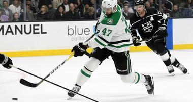 February 28, 2019; Los Angeles, CA, USA; Dallas Stars right wing Alexander Radulov (47) shoots on goal against the Los Angeles Kings during the first period at Staples Center.