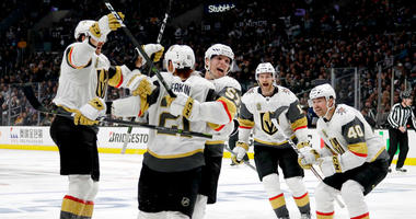 Vegas Golden Knights center Cody Eakin (21) celebrates after scoring against the Los Angeles Kings during the third period of Game 3 of an NHL hockey first-round playoff series in Los Angeles.
