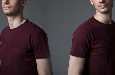 Adult, Brothers, Male, Twins, Maroon Shirt