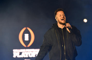 Dan Reynolds of Imagine Dragons performs during the 2019 College Football Playoff National Championship Game