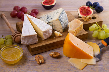 Cheese Selection, Wooden Board, Grapes, Nuts, Figs, Fruits