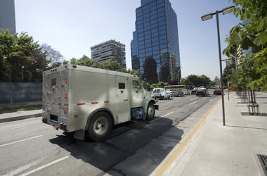 Armored, Security, Truck, City, Street