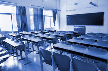 Empty, Classroom, Desk, Chairs, Blue Tones