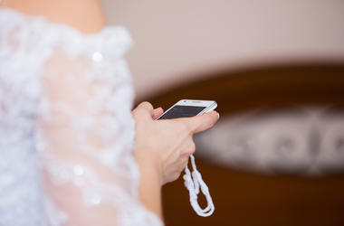 Bride, Cell Phone, Texting, Wedding Dress