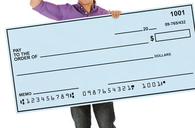 Man, Giant Check, Isolated, White Background