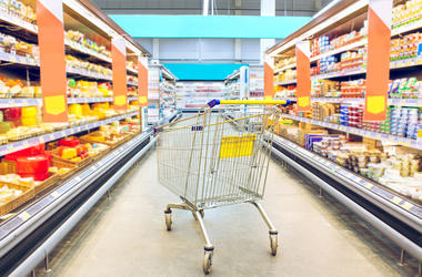 Grocery Store, Cart, Aisle, Empty