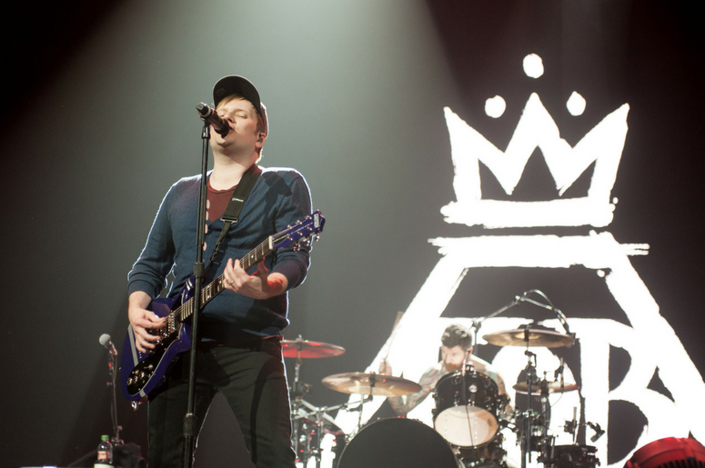 Patrick Stump of Fall Out Boy performs on stage at the Arena Birmingham