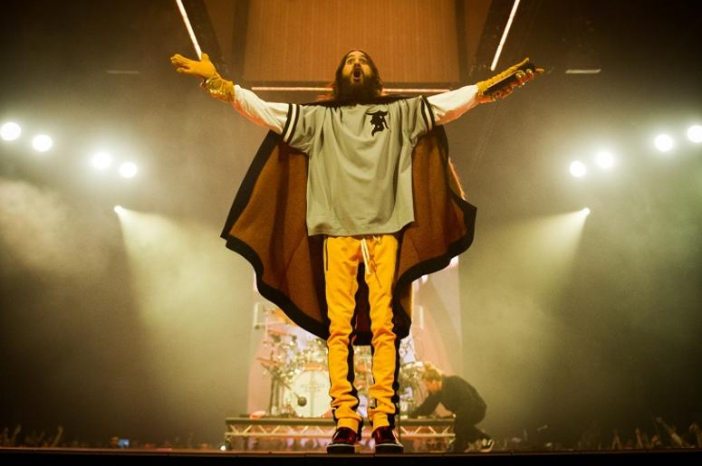 Jared Leto of 30 Seconds To Mars performs on stage at the Arena Birmingham in Birmingham, UK. Picture date: Thursday 29 March, 2018.