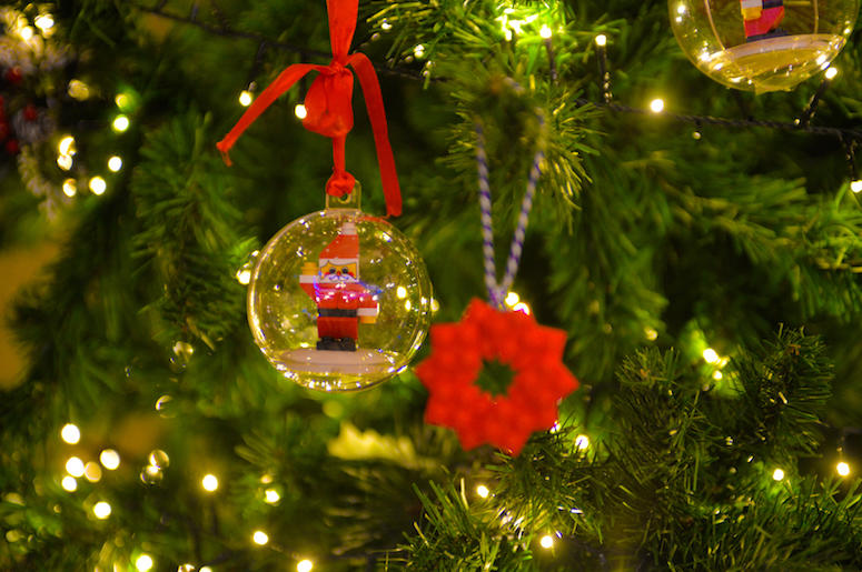 Christmas Tree, Ornaments, Santa