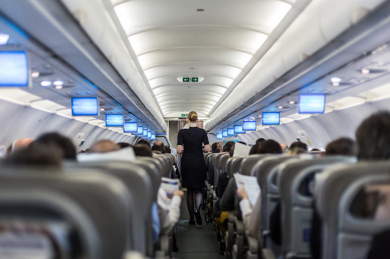 Flight Attendant, Plane, Commercial Airline, Crowded, Aisle