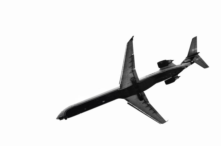Airplane, Flying, Black and White