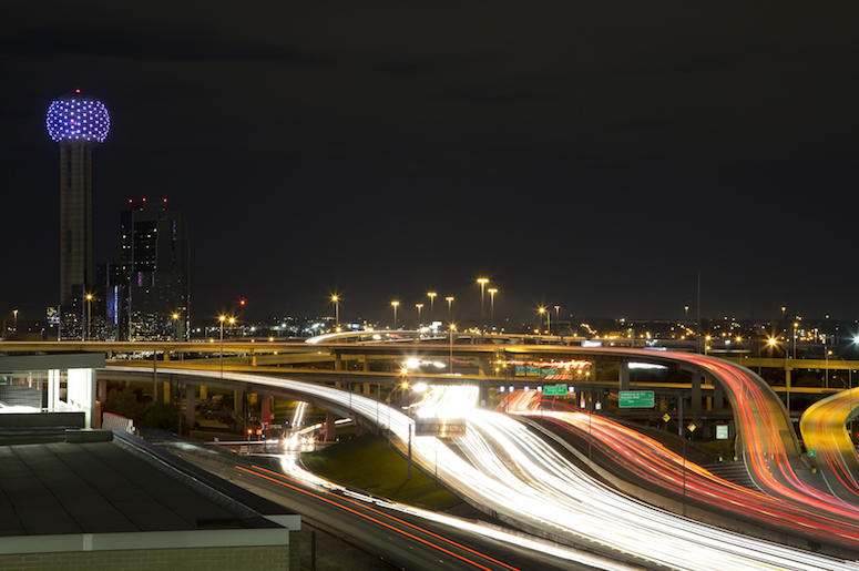 Downtown, Dallas, Night, Traffic