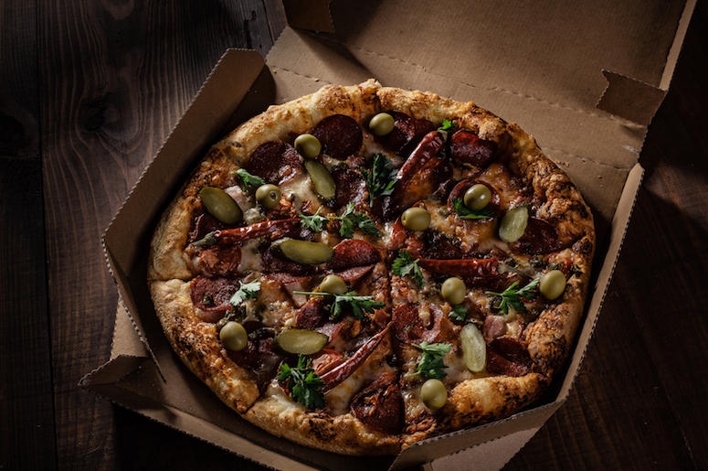 Pizza, Delivery, Box, Wooden Table