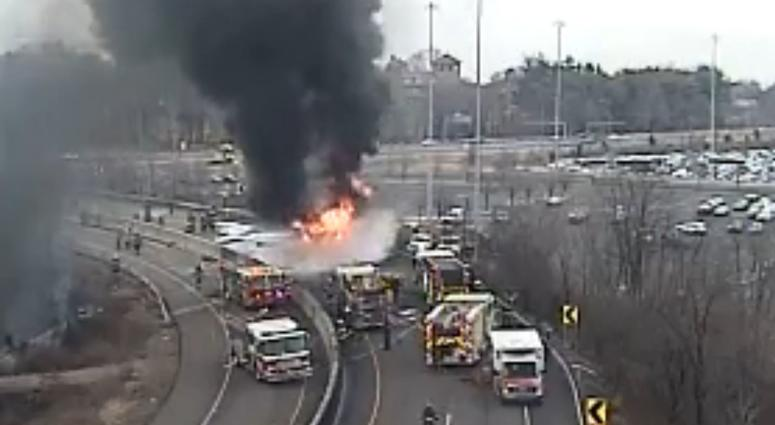 Vehicle fire on Woodhaven Rd. exit of I-95