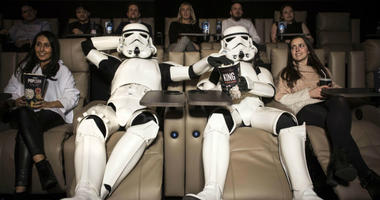 12/13/2017 - EDITORIAL USE ONLY Stormtroopers enjoy the new cinema facilities at ODEON Luxe Putney in London ahead of the nationwide film release of Star Wars: The Last Jedi, on December 15th