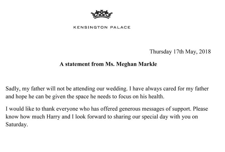 A statement released by Kensington Palace from Meghan Markle