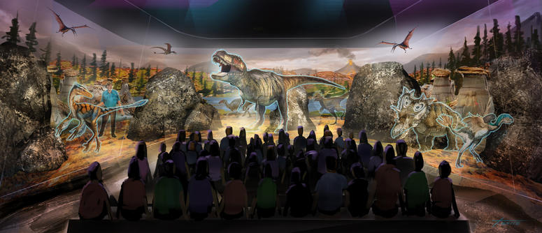 This undated artist rendering provided by BASE Hologram shows a prototype three-dimensional hologram display for a dinosaur exhibit. J