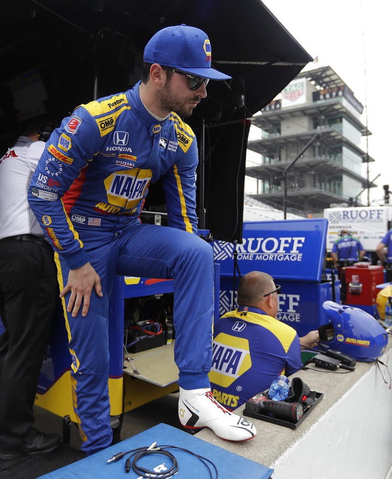 Alexander Rossi waits in the pits before a practice session for the IndyCar Indianapolis 500 auto race at Indianapolis Motor Speedway.