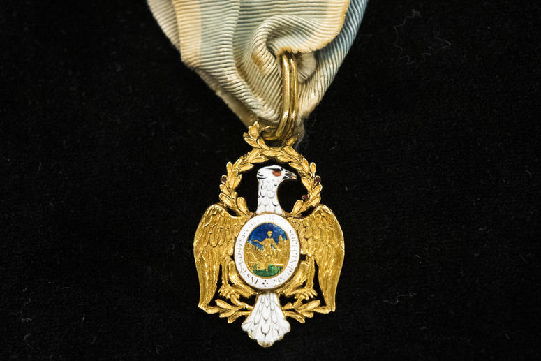 Displayed is Alexander Hamilton's Society of the Cincinnati Eagle insignia at the Museum of the American Revolution in Philadelphia, Monday, Nov. 12, 2018.