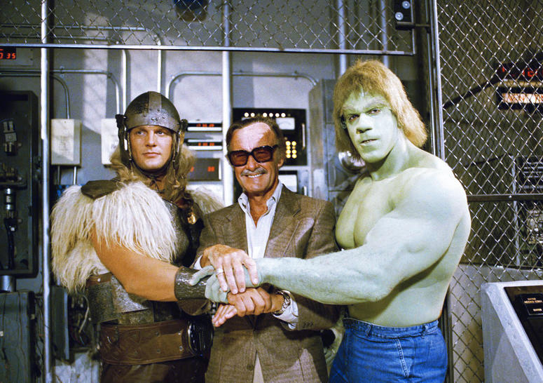 "In this May 9, 1988, file photo, comics impresario Stan Lee, center, poses with Lou Ferrigno, right, and Eric Kramer who portray The Incredible Hulk and Thor, respectively, in a special movie for NBC, ""The Incredible Hulk Returns."""