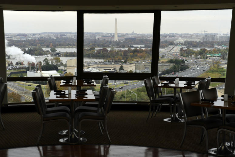 This Friday, Nov. 9, 2018, photo shows a view of Washington from a revolving restaurant in Crystal City, Va.
