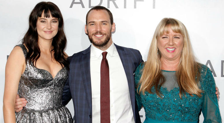 Shailene Woodley, Sam Claflin and Tami Oldham Ashcraft attend the premiere of 'Adrift' in Los Angeles, California.