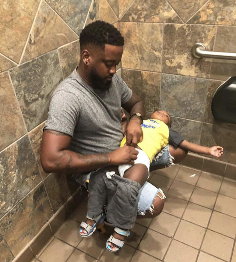 Donte Palmer works full time in an effort to get changing tables in men's rooms.