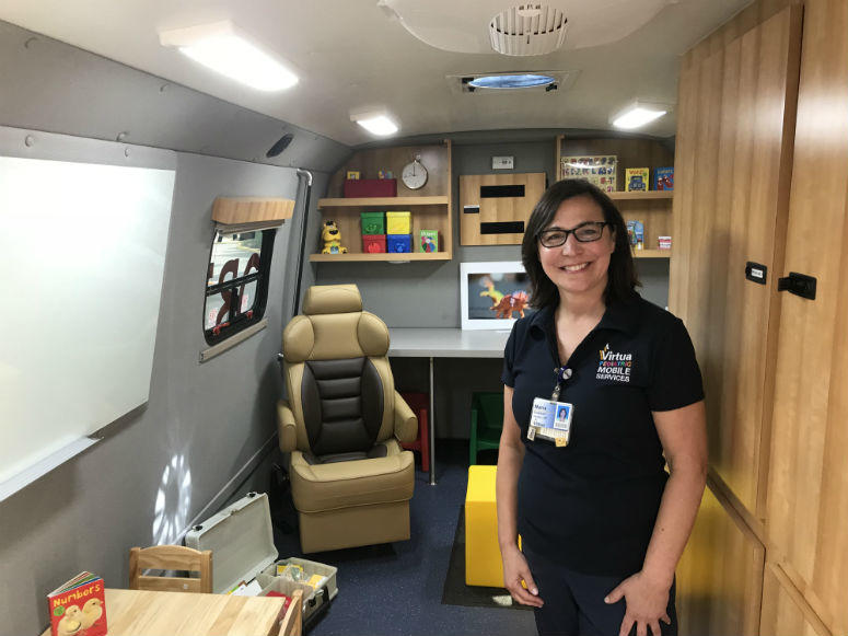 Virtua speech-language pathologist Maria Emerson said the van comes equipped with amenities like toys and games in an effort to take some of the anxiety off their young patients.