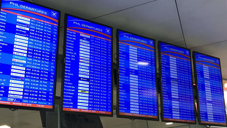 Nearly all flights out of PHL airport are on time at the moment.