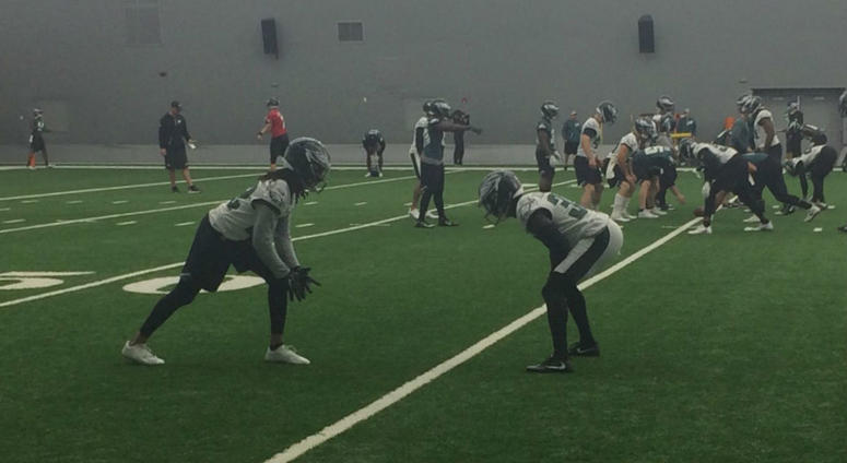 The Eagles work out in their practice bubble in South Philadelphia.