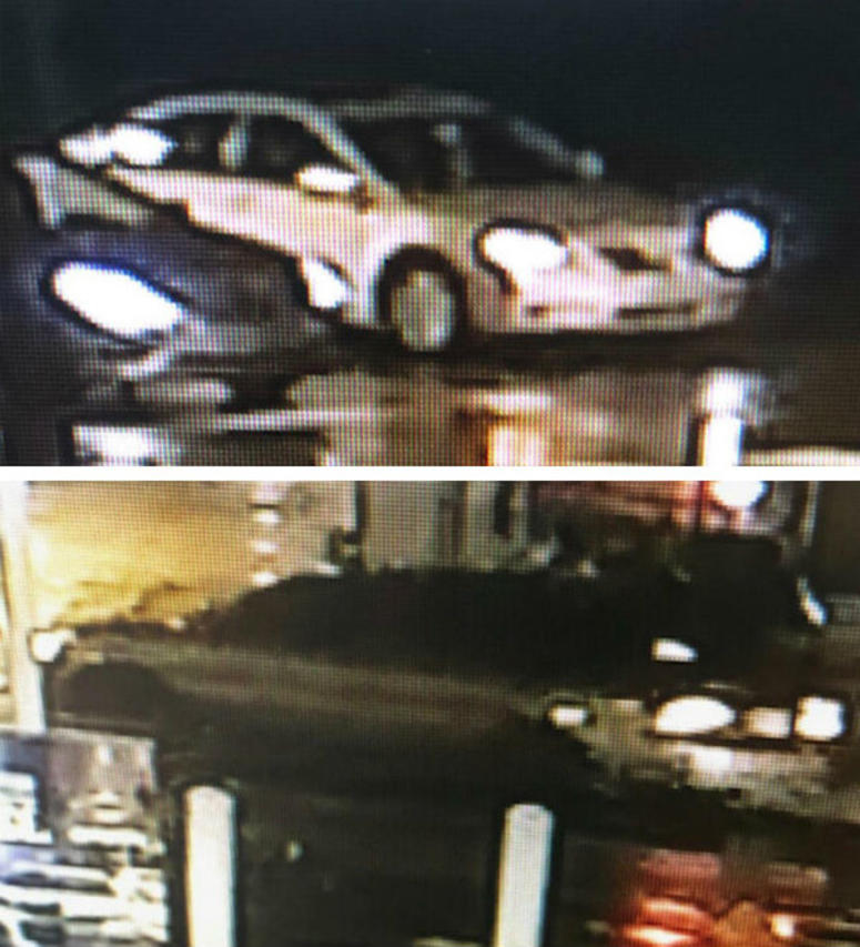 Gray Toyota Camry (top) and dark Mitsubishi Gallant (bottom) believed to be involved in hit-and-run accidents in Philadelphia.