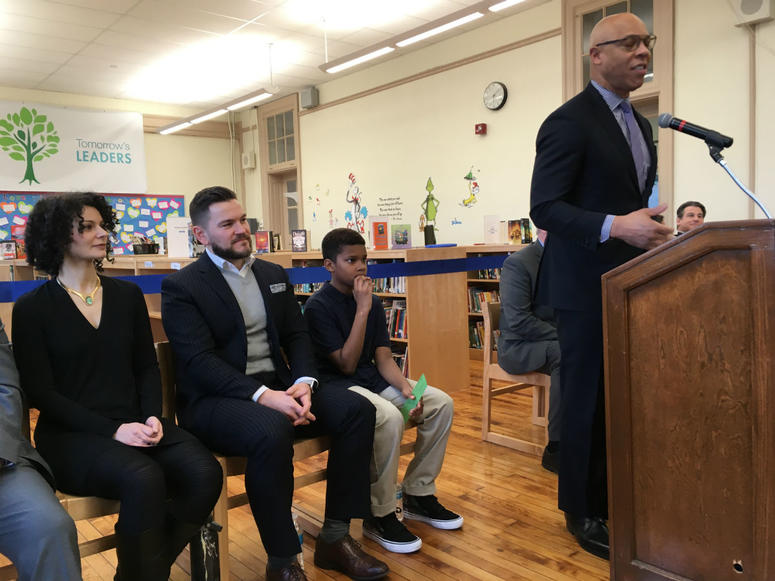 Superintendent William Hite is shown at the new library at Bache-Martin Elementary in Philadelphia.