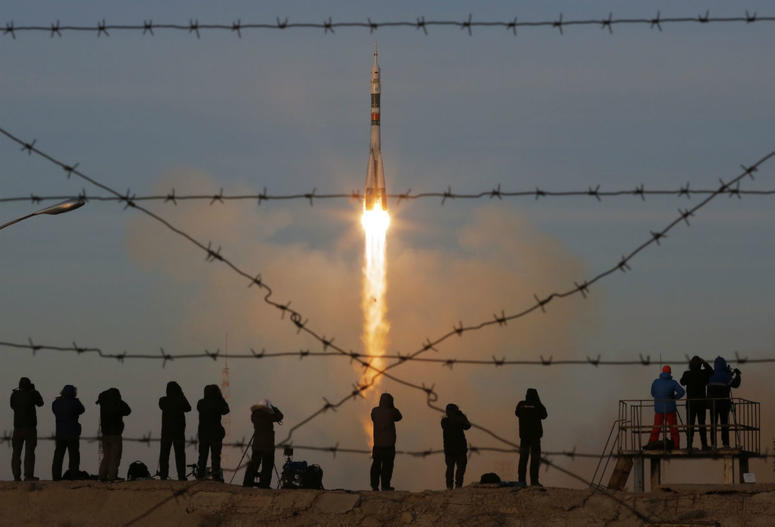 The Soyuz-FG rocket booster with Soyuz MS-11 space ship carrying a new crew to the International Space Station ISS blasts off at the Russian leased Baikonur cosmodrome Kazakhstan Monday Dec. 3 2018