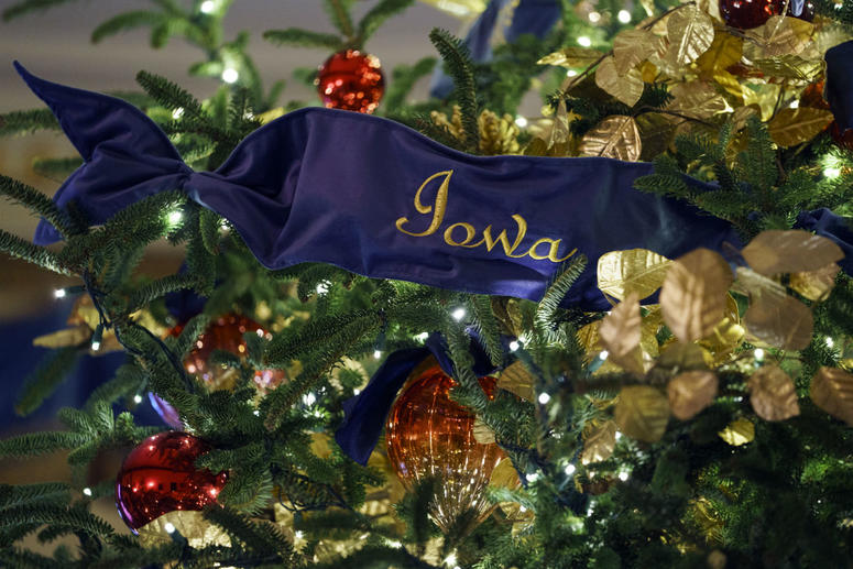 A detail of the official White House Christmas tree is seen in the Blue Room during the 2018 Christmas Press Preview at the White House in Washington, Monday, Nov. 26, 2018.