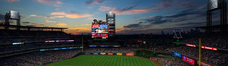 General view at dusk during the fourth inning of a game between the Philadelphia Phillies and the San Diego Padres at Citizens Bank Park.