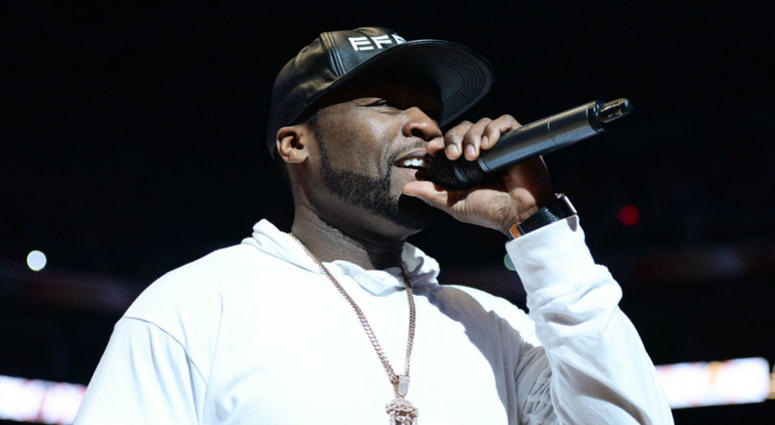 Recording artist 50 Cent introduces the Phoenix Suns starting lineup prior to the game against Portland Trail Blazers at Talking Stick Resort Arena, Dec 11, 2015