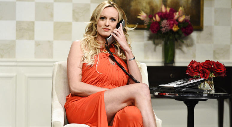 "Stormy Daniels during an appearance on ""Saturday Night Live."""
